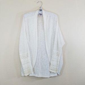 Francesca's Oatmeal Boho Crochet Sleeve Cardigan